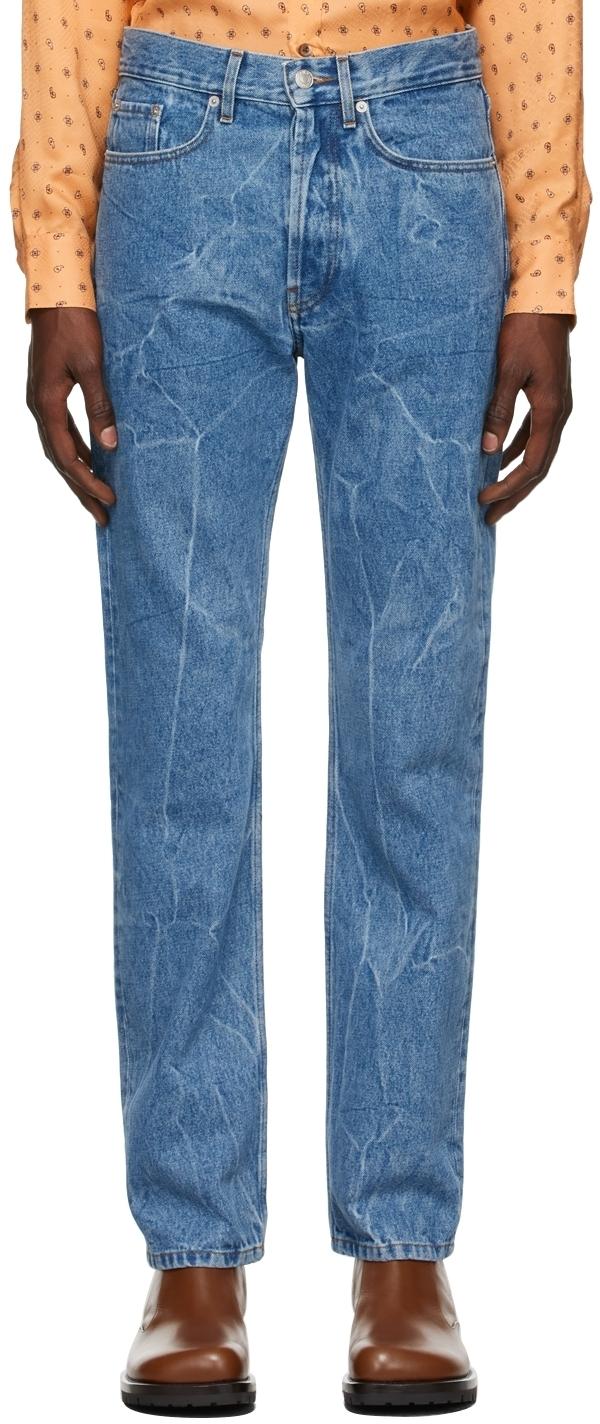 Photo: Dries Van Noten Blue Marbled Straight Leg Jeans