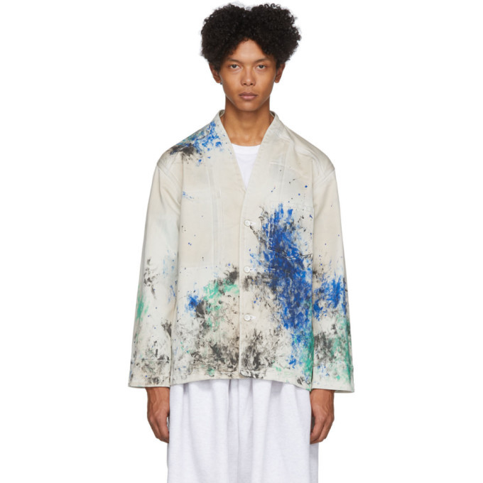 Photo: Sasquatchfabrix. White and Multicolor Coverall Paint Jacket