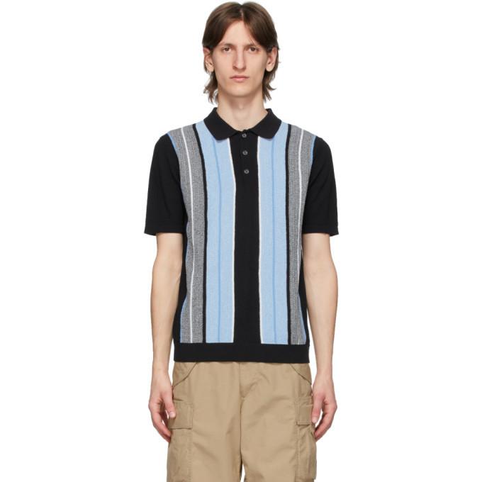 Photo: BEAMS PLUS Black Knit Stripe Polo