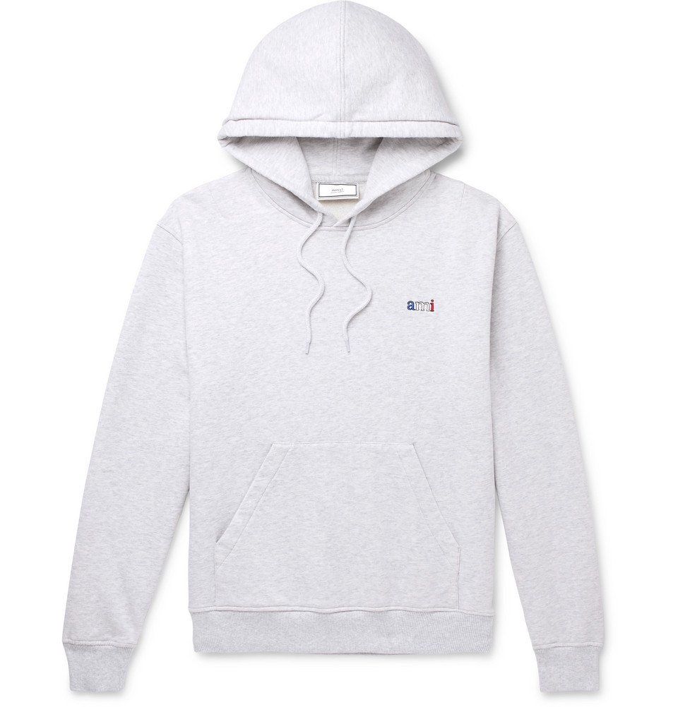 Photo: AMI - Logo-Embroidered Mélange Loopback Cotton-Jersey Hoodie - Gray