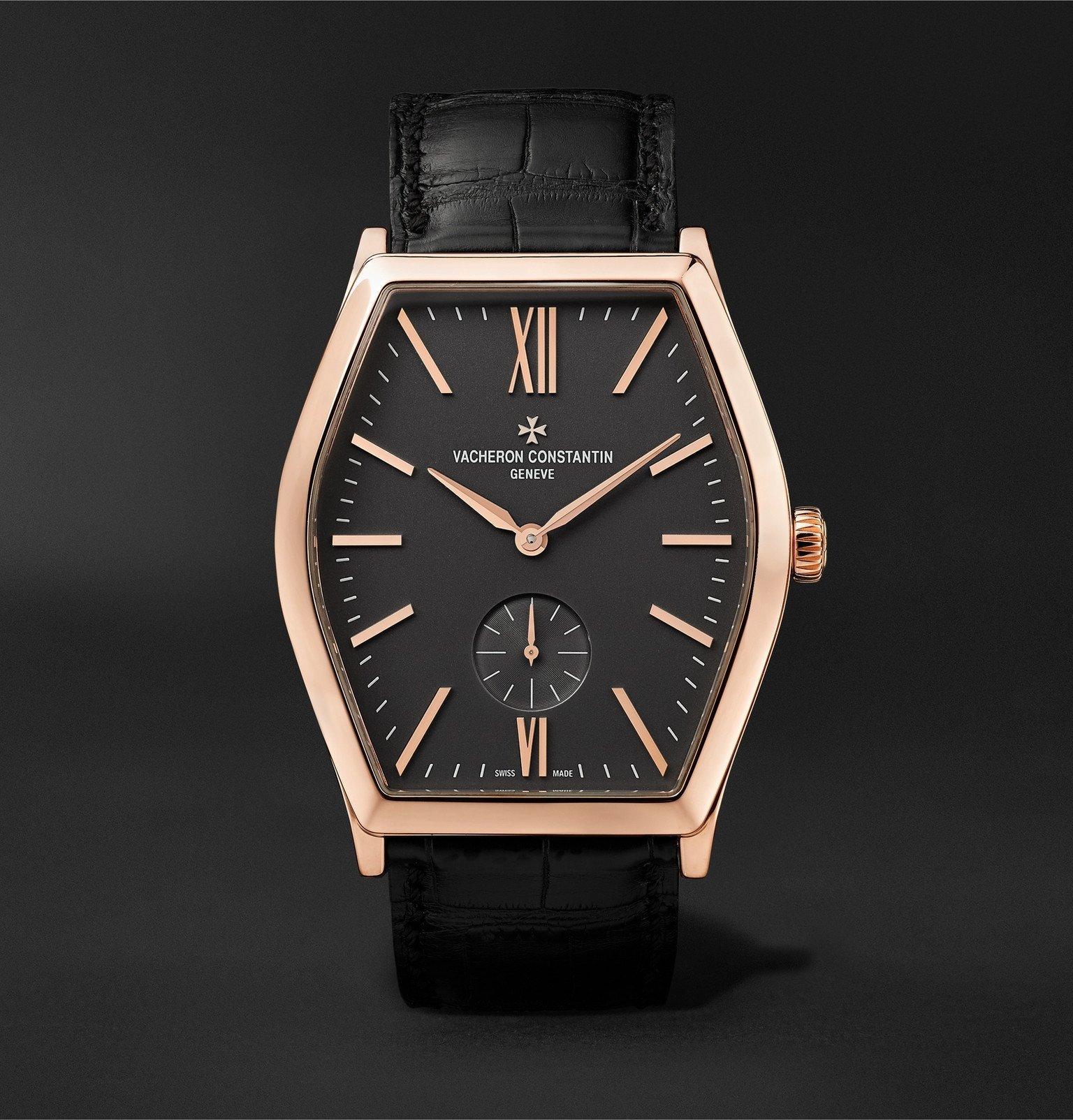 Photo: Vacheron Constantin - Malte Hand-Wound 42mm 18-Karat Pink Gold and Alligator Watch, Ref. No. 82230/000R-9716 - Black