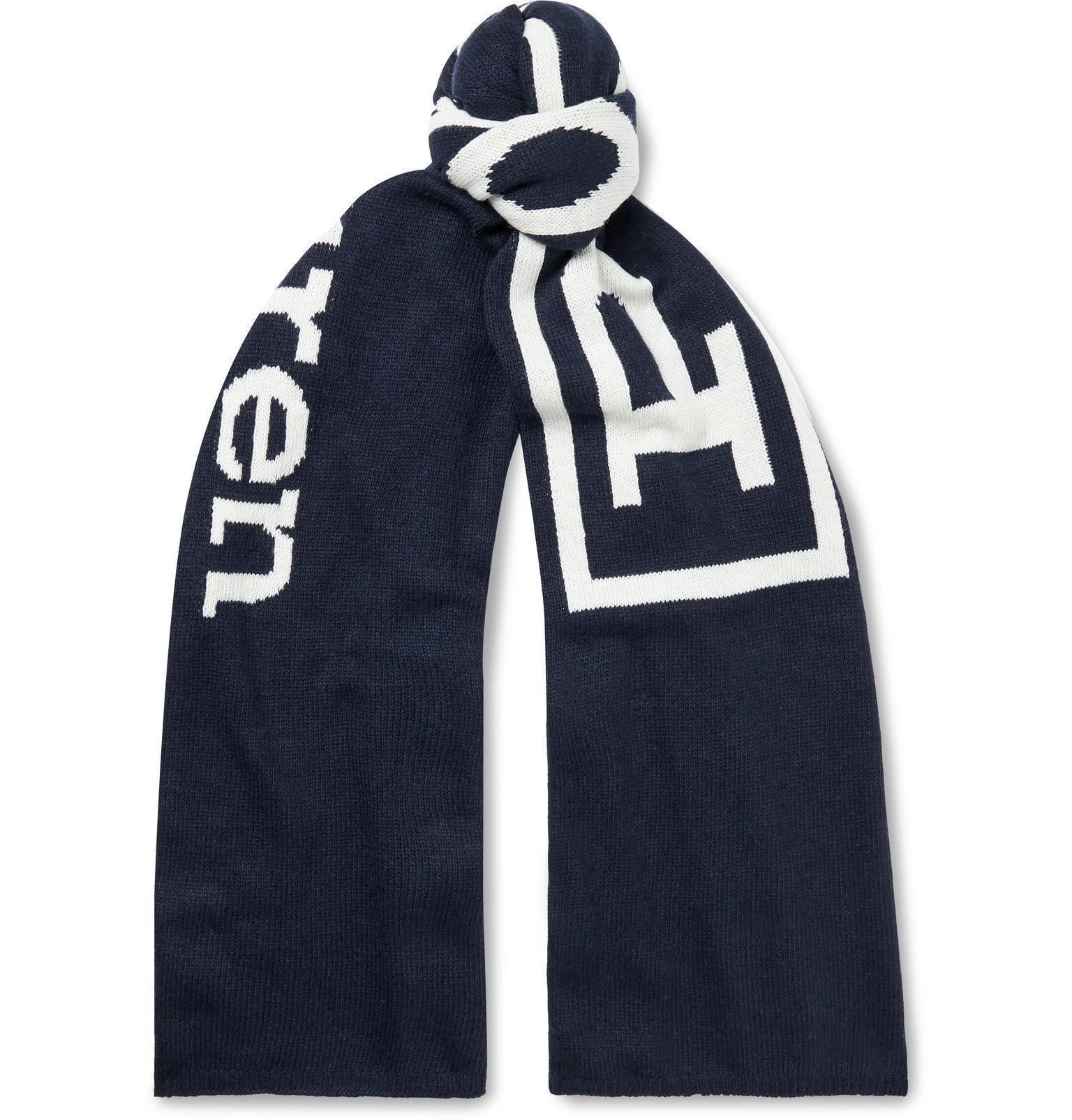 Photo: Polo Ralph Lauren - Logo-Jacquard Knitted Scarf - Blue