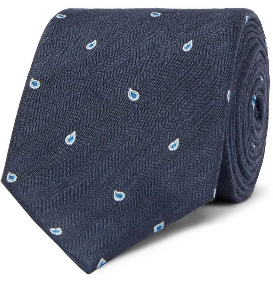 Dunhill - 7cm Paisley-Embroidered Herringbone Linen and Mulberry Silk-Blend Tie - Men - Navy
