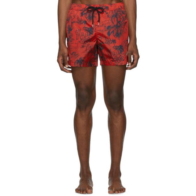 Photo: Moncler Red Palm Tree Swim Shorts