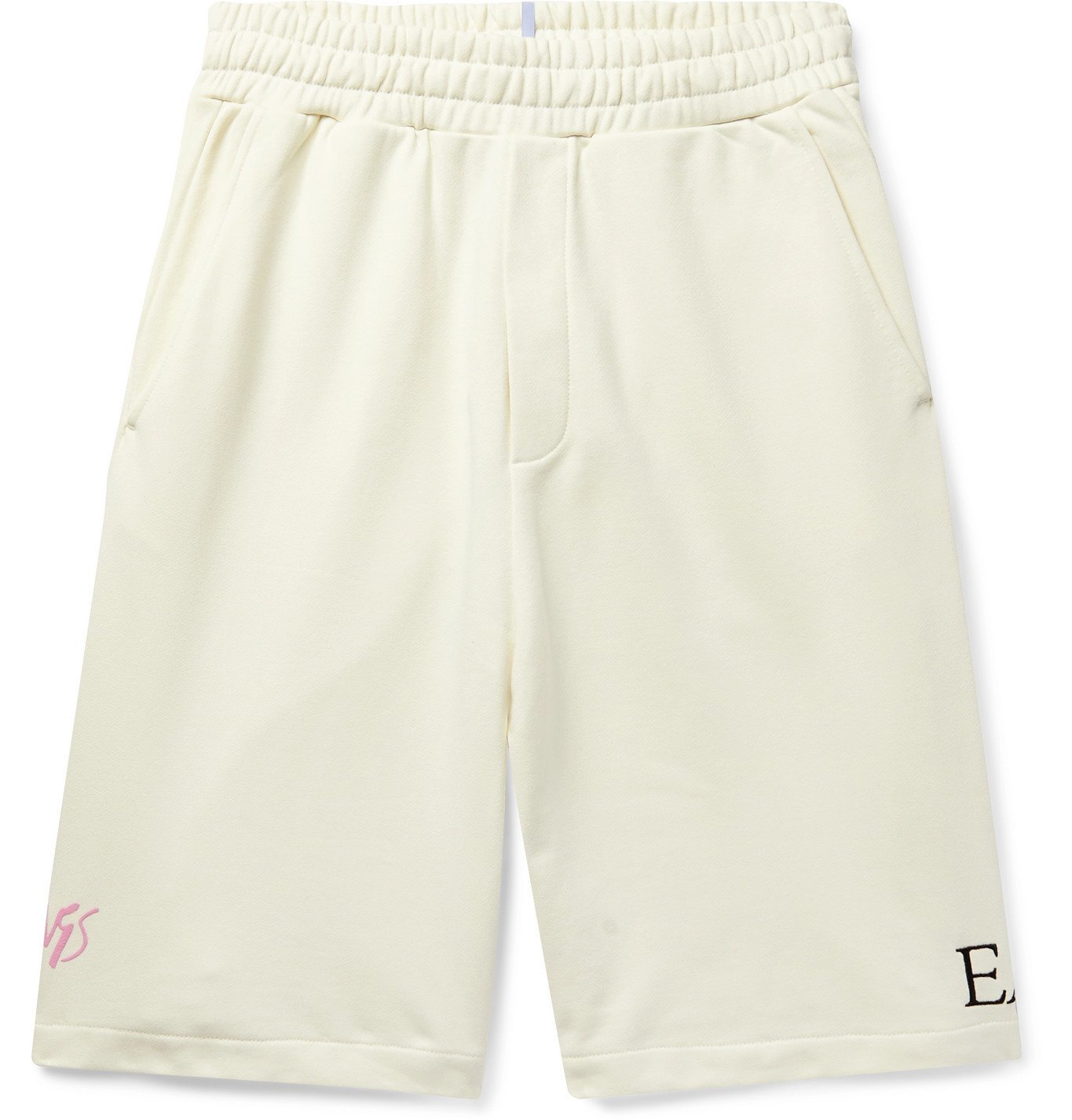 Photo: MCQ - Appliquéd Embroidered Loopback Cotton-Jersey Shorts - Neutrals
