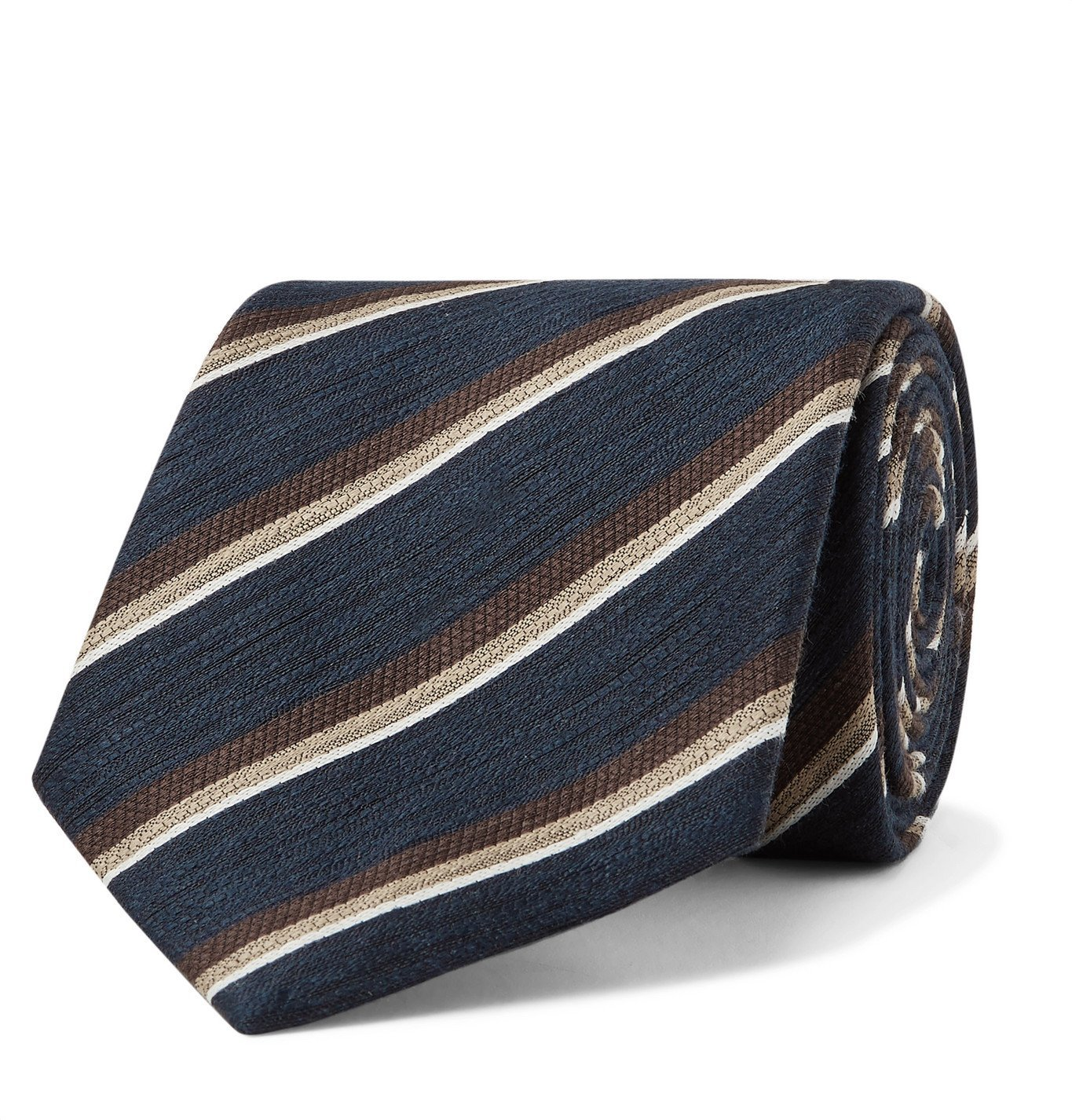 Photo: BRIONI - 8cm Striped Linen and Silk-Blend Jacquard Tie - Blue