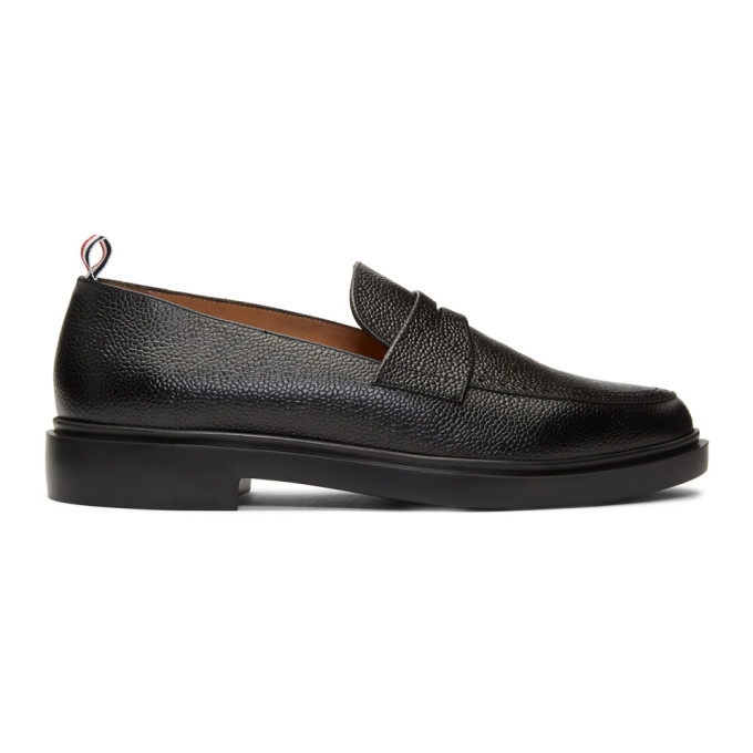 Photo: Thom Browne Black Lightweight Sole Penny Loafers