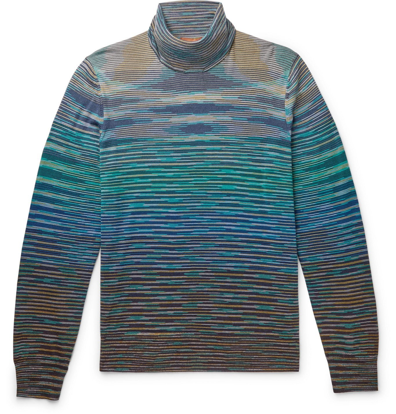 Photo: Missoni - Space-Dyed Wool-Blend Rollneck Sweater - Blue