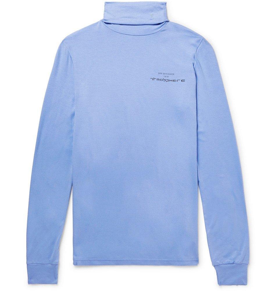Raf Simons - Slim-Fit Printed Stretch-Jersey Rollneck T-Shirt - Men - Light blue