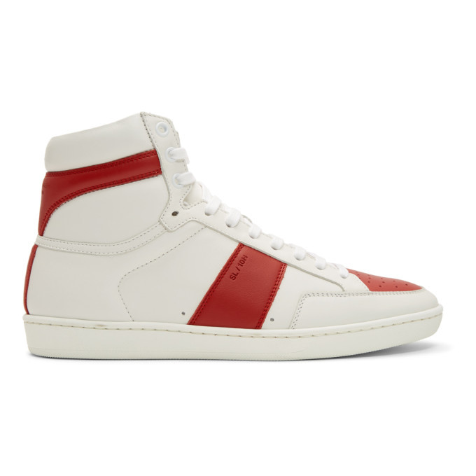 Photo: Saint Laurent White and Red Court Classic SL/10 High-Top Sneakers