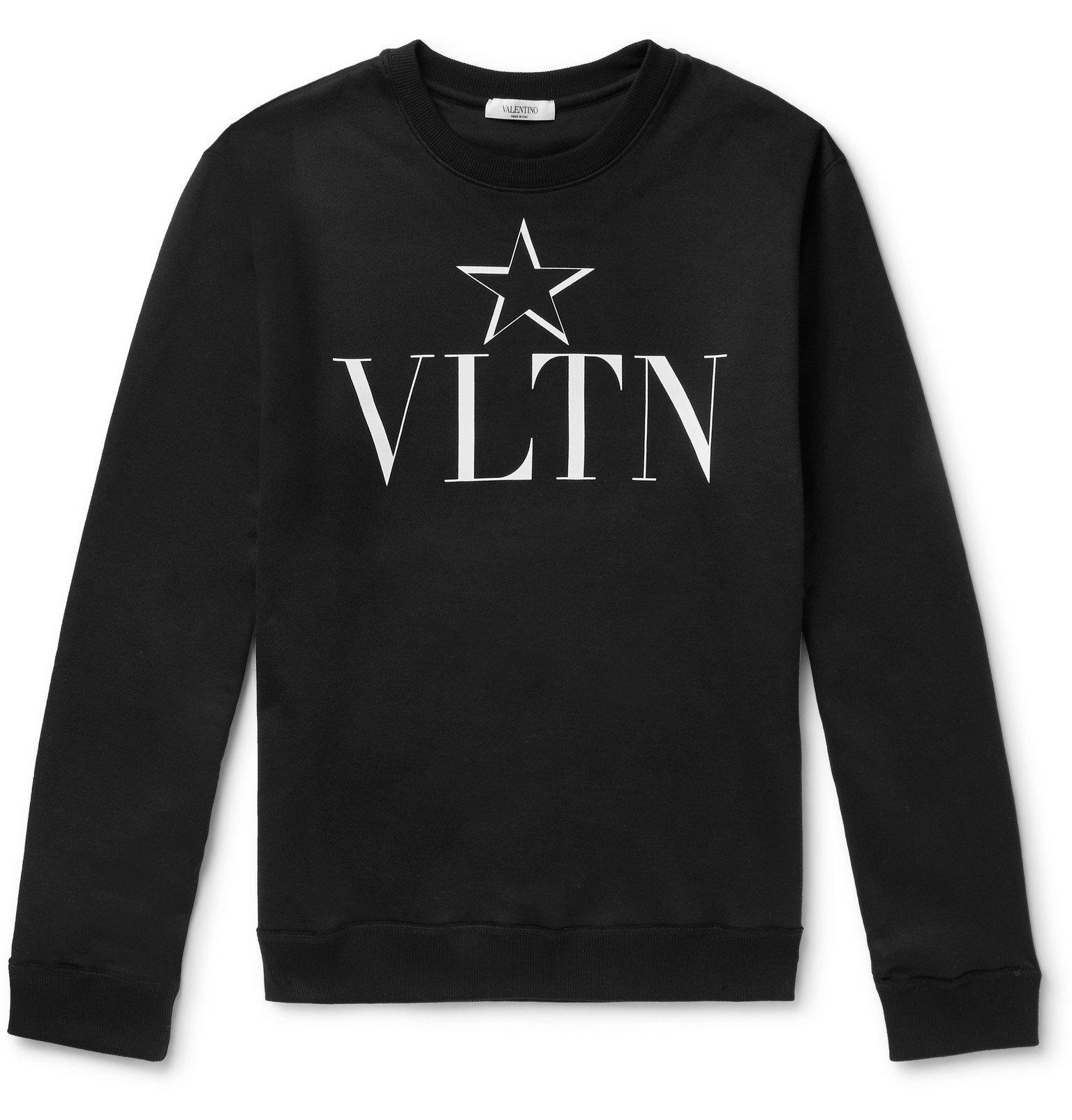 Photo: Valentino - Slim-Fit Logo-Print Loopback Cotton-Blend Jersey Sweatshirt - Black