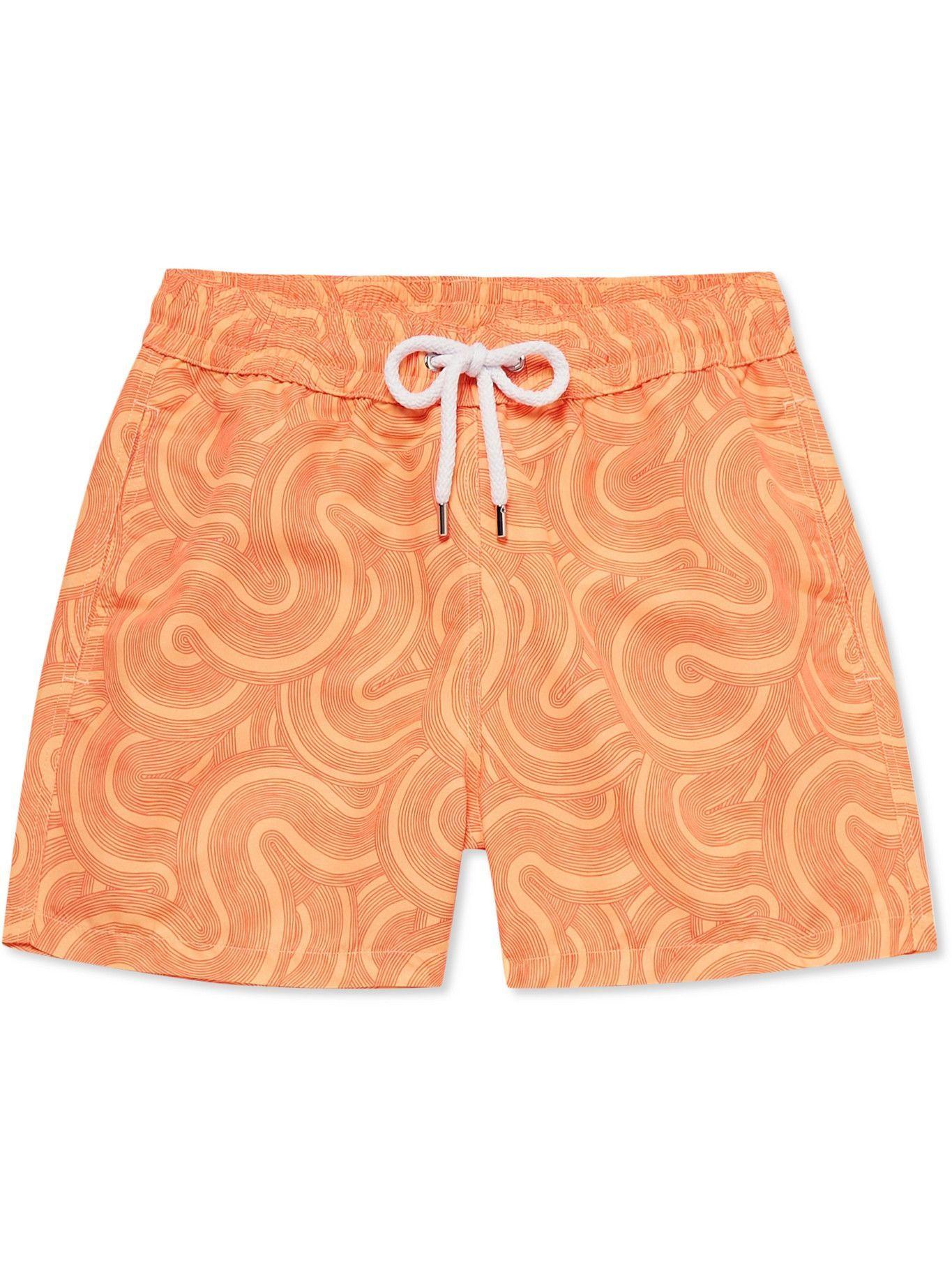 Photo: FRESCOBOL CARIOCA - Sport Slim-Fit Short-Length Printed Swim Shorts - Orange