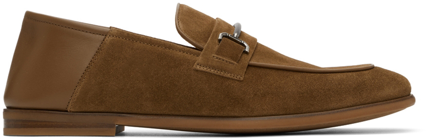 Photo: Dunhill Brown Suede Chiltern Roller Bar Loafers