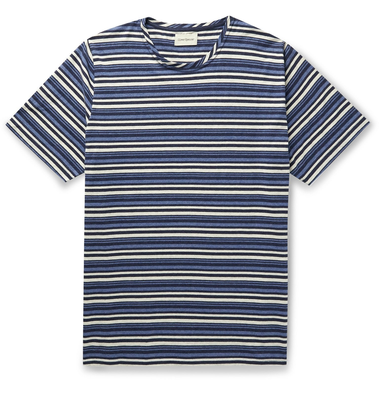 Photo: Oliver Spencer - Conduit Striped Cotton-Jersey T-Shirt - Blue