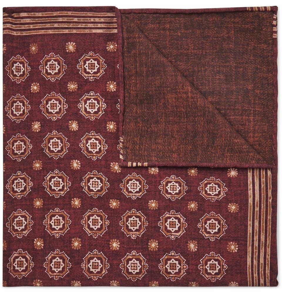 Photo: Brunello Cucinelli - Printed Silk Pocket Square - Red