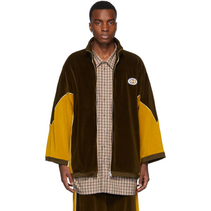Photo: Gucci Brown and Yellow Chenille Track Jacket