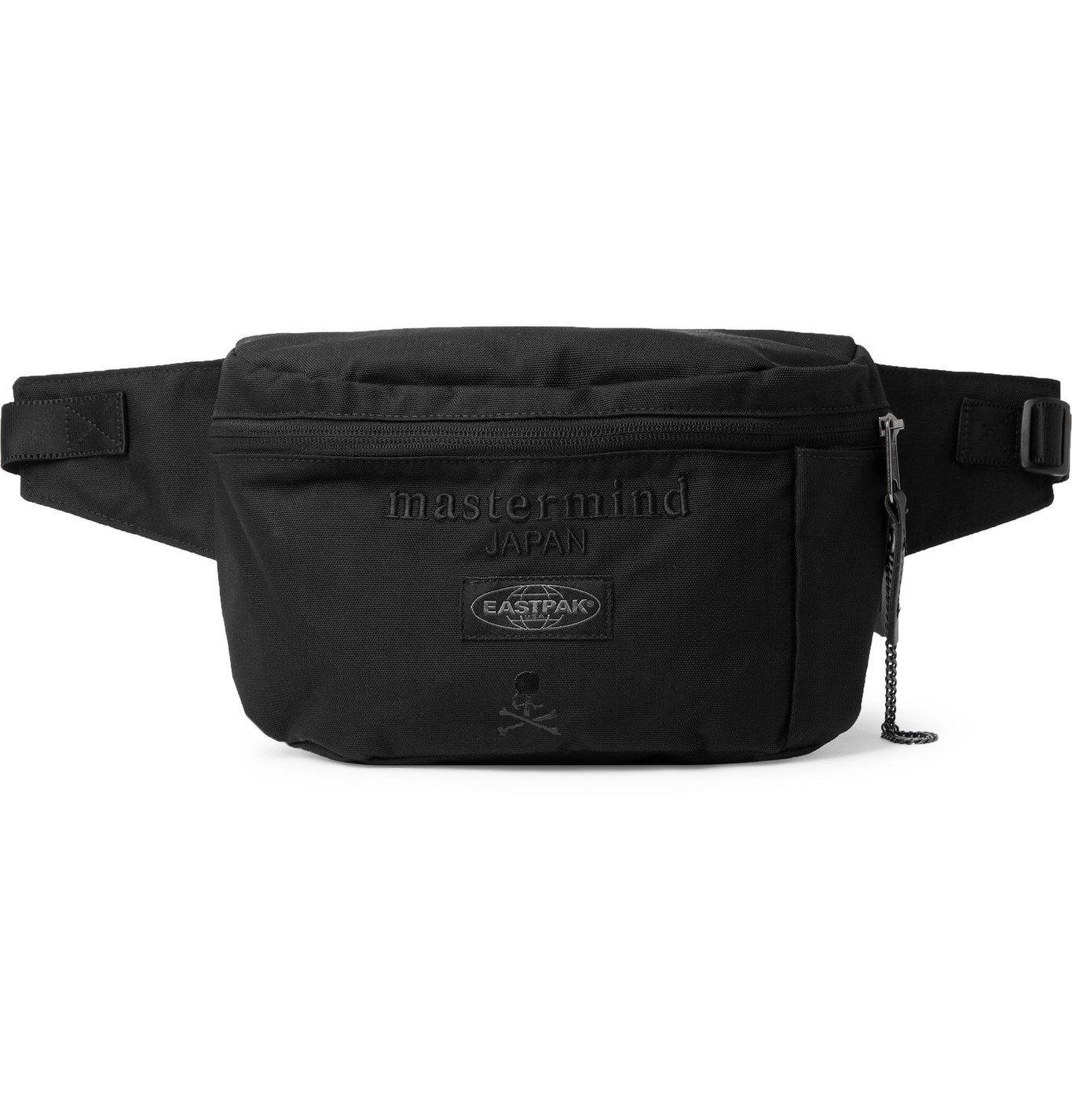 Photo: MASTERMIND WORLD - Eastpak Bane Logo-Embroidered Printed Appliquéd Canvas Belt Bag - Black