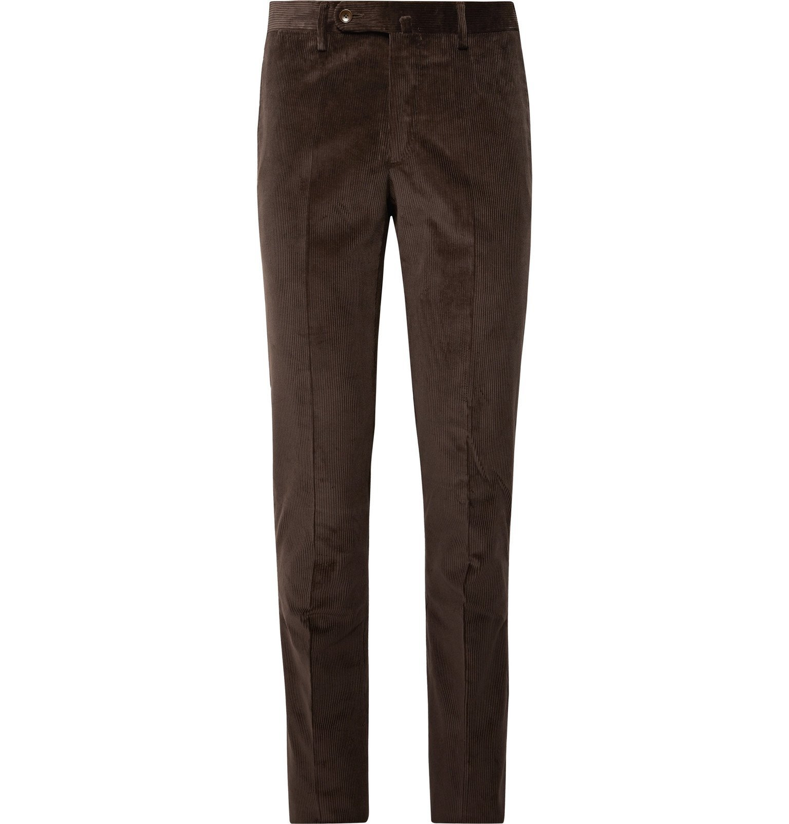 Photo: Sid Mashburn - Chocolate Slim-Fit Cotton-Corduroy Suit Trousers - Brown