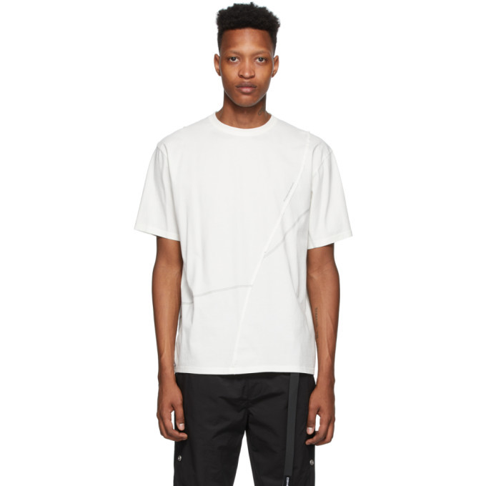 Photo: C2H4 White Crooked Panelled T-Shirt