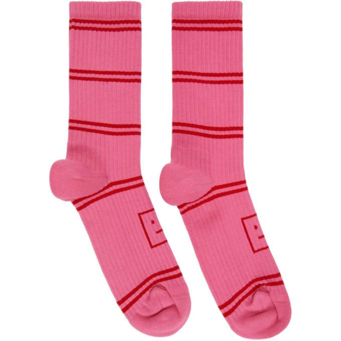 Photo: Acne Studios Pink Motif Jacquard Striped Socks