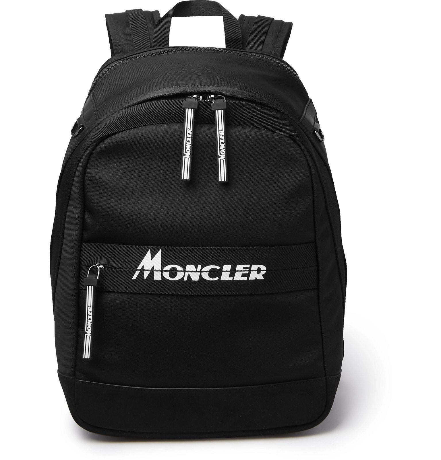 Photo: Moncler - Gimont Logo-Print Grosgrain-Trimmed Canvas Backpack - Black