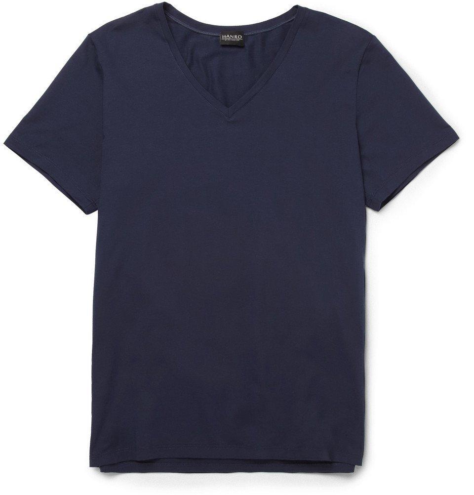 Hanro - Superior Mercerised Stretch-Cotton T-Shirt - Men - Navy