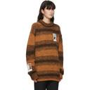 Raf Simons Orange Wool Striped Polaroid Sweater