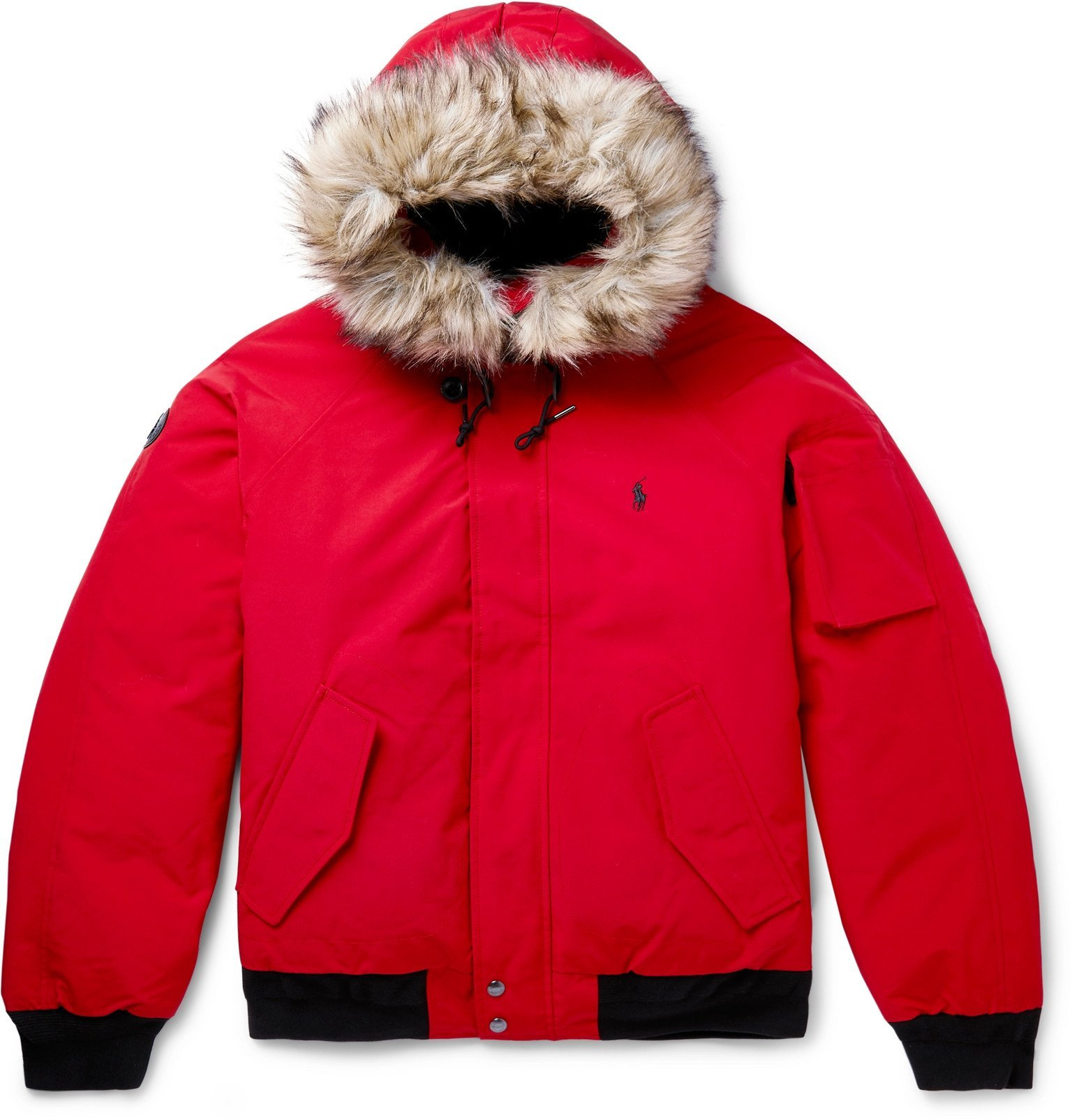 Photo: Polo Ralph Lauren - Faux Fur-Trimmed Shell Hooded Down Jacket - Red