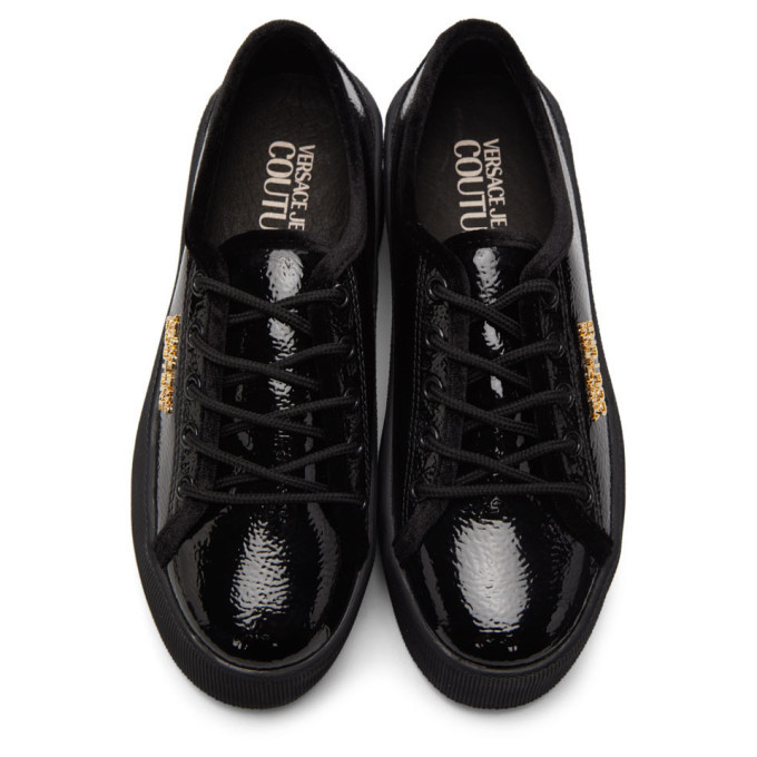Versace Jeans Couture Black High Box Shiny Sneakers