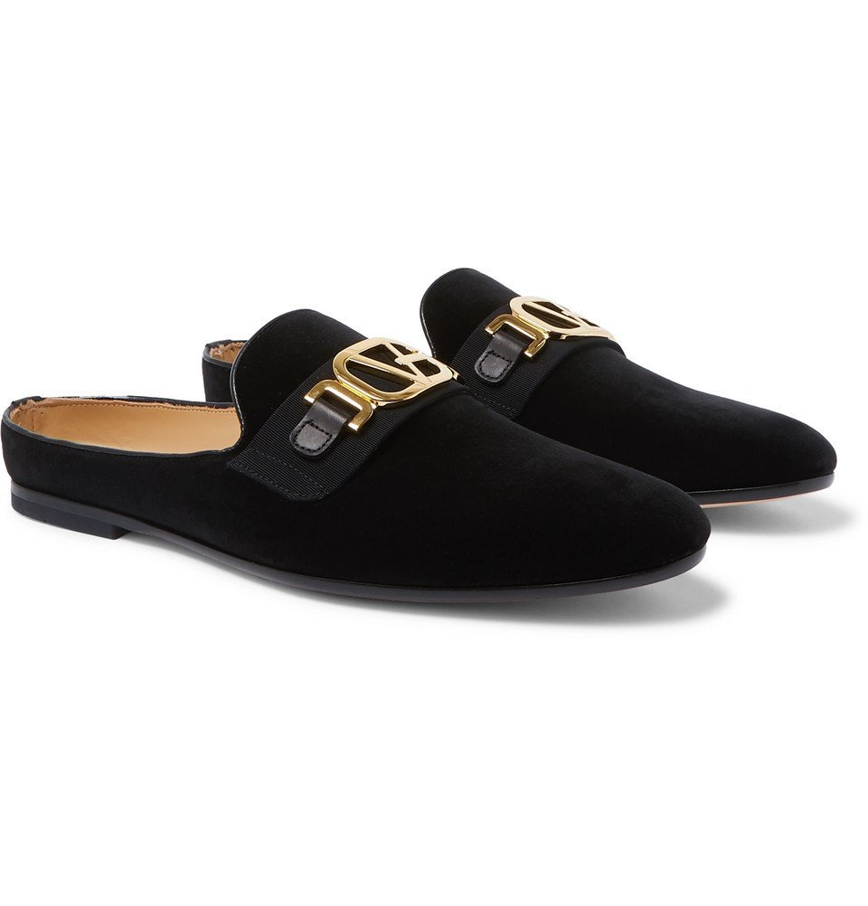 Photo: Versace - Leather-Trimmed Horsebit Velvet Backless Loafers - Black