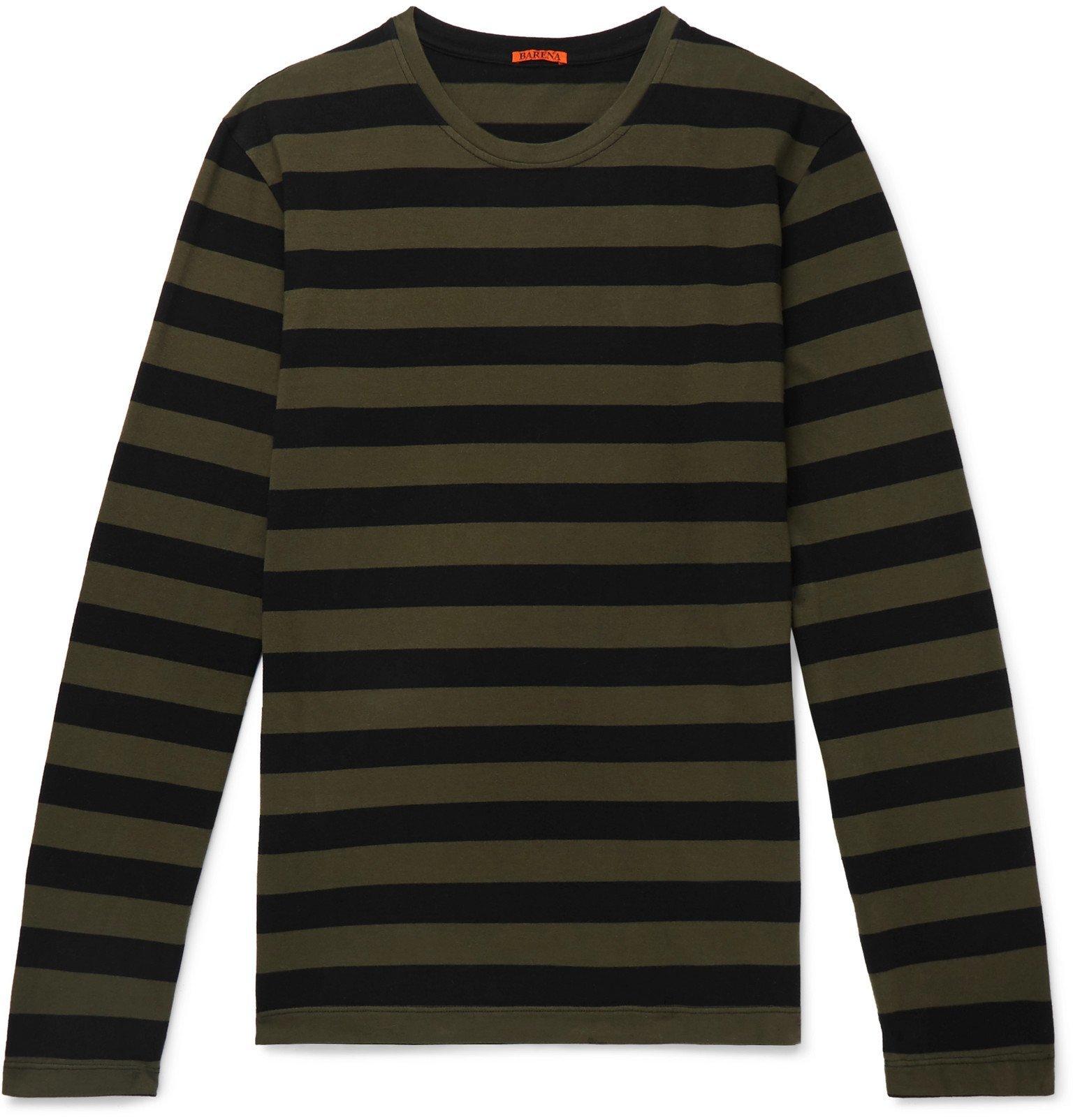 Photo: Barena - Striped Cotton-Jersey T-Shirt - Green