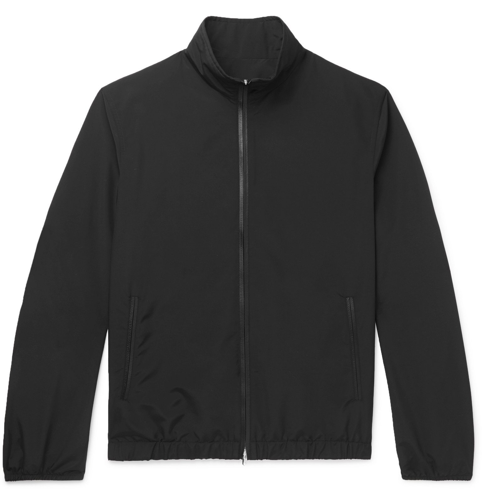Photo: The Row - Leo Leather-Trimmed Wool-Blend Blouson Jacket - Black