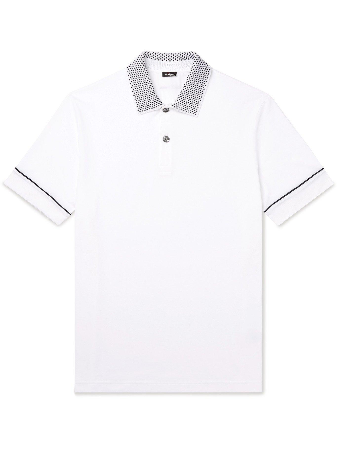 Photo: KITON - Contrast-Detailed Cotton Polo Shirt - White - S