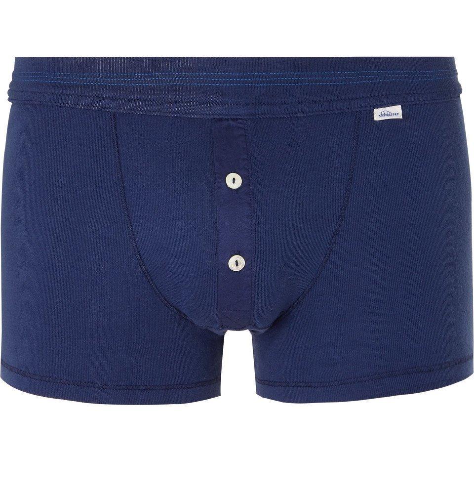 Schiesser - Karl Heinz Cotton-Jersey Boxer Briefs - Men - Blue
