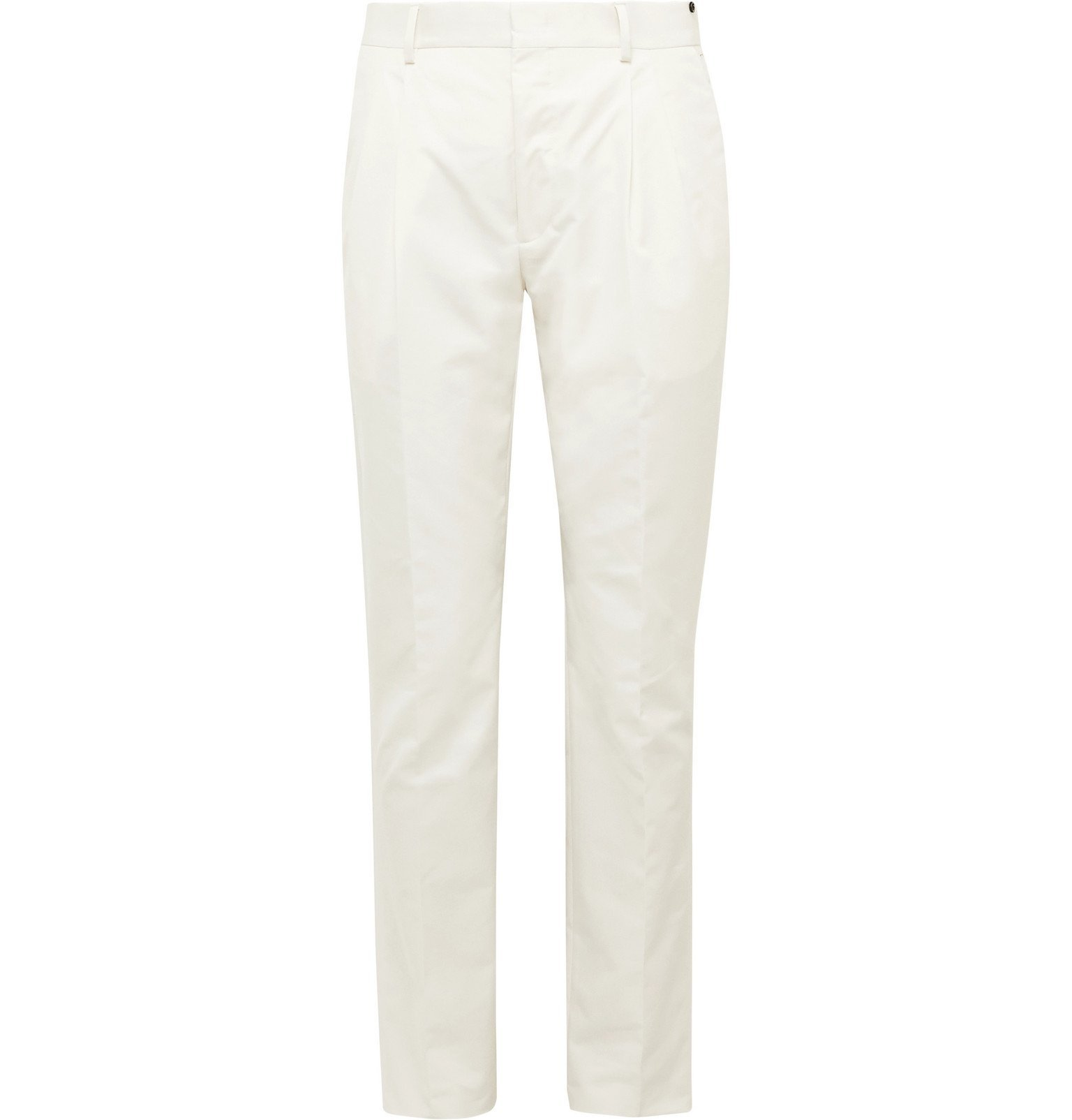 Photo: Fendi - Tapered Pleated Cotton-Blend Trousers - Neutrals