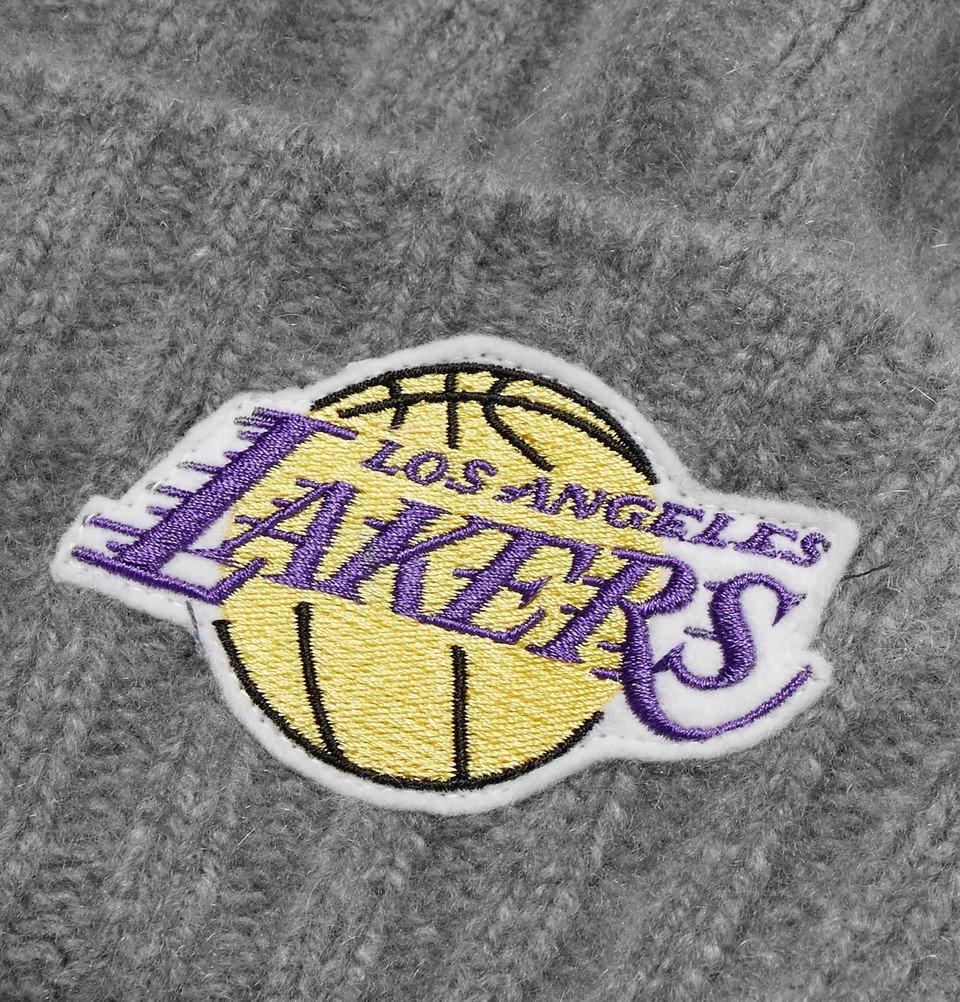 The Elder Statesman - NBA Los Angeles Lakers Appliquéd Cashmere Beanie - Gray