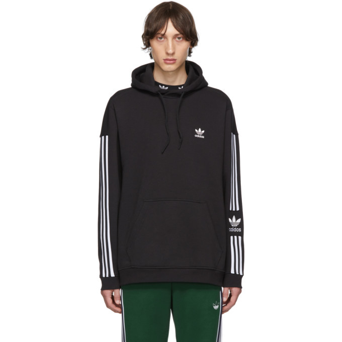 adidas Originals Black Striped Lock-Up Hoodie