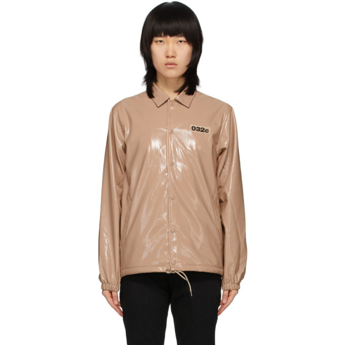 Photo: 032c Pink Patent Embroidered Patch Jacket
