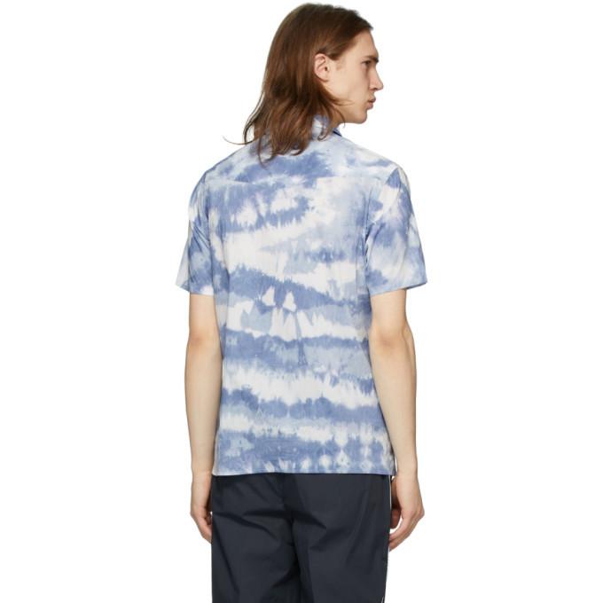 Officine Generale Blue and White Tie-Dye Indigo Shirt