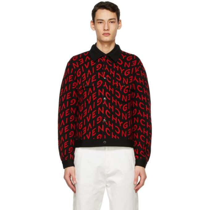 Photo: Givenchy Black and Red Wool Refracted Logo Bomber Jacket