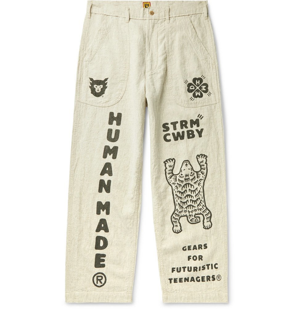 Photo: Human Made - Printed Cotton and Ramie-Blend Trousers - Beige