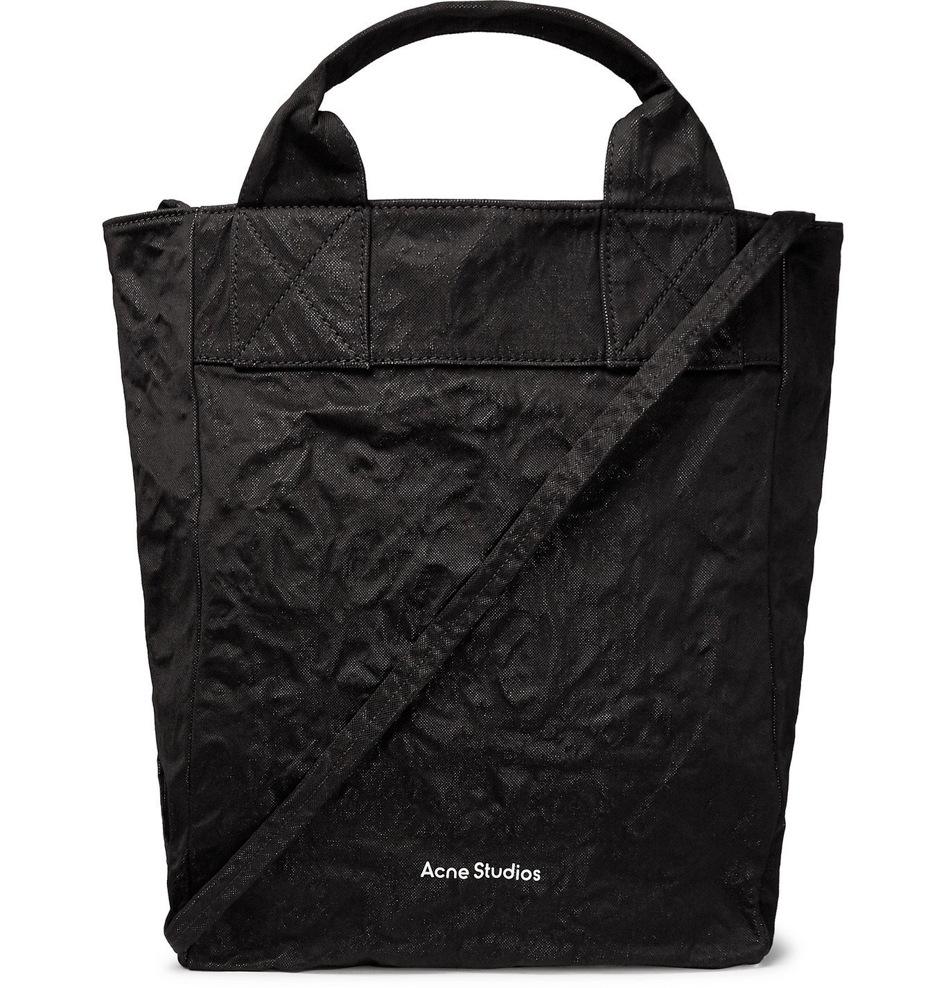 Photo: Acne Studios - Crinkled Cotton and Nylon-Blend Tote Bag - Black