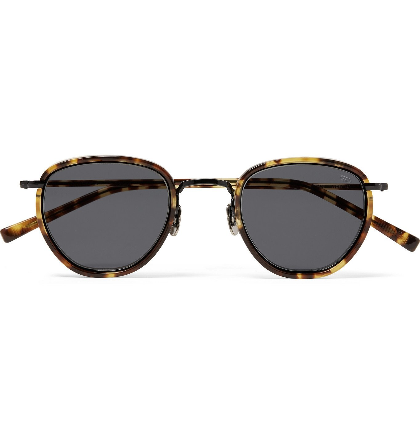 Photo: Eyevan 7285 - D-Frame Acetate and Gold-Tone Sunglasses - Brown