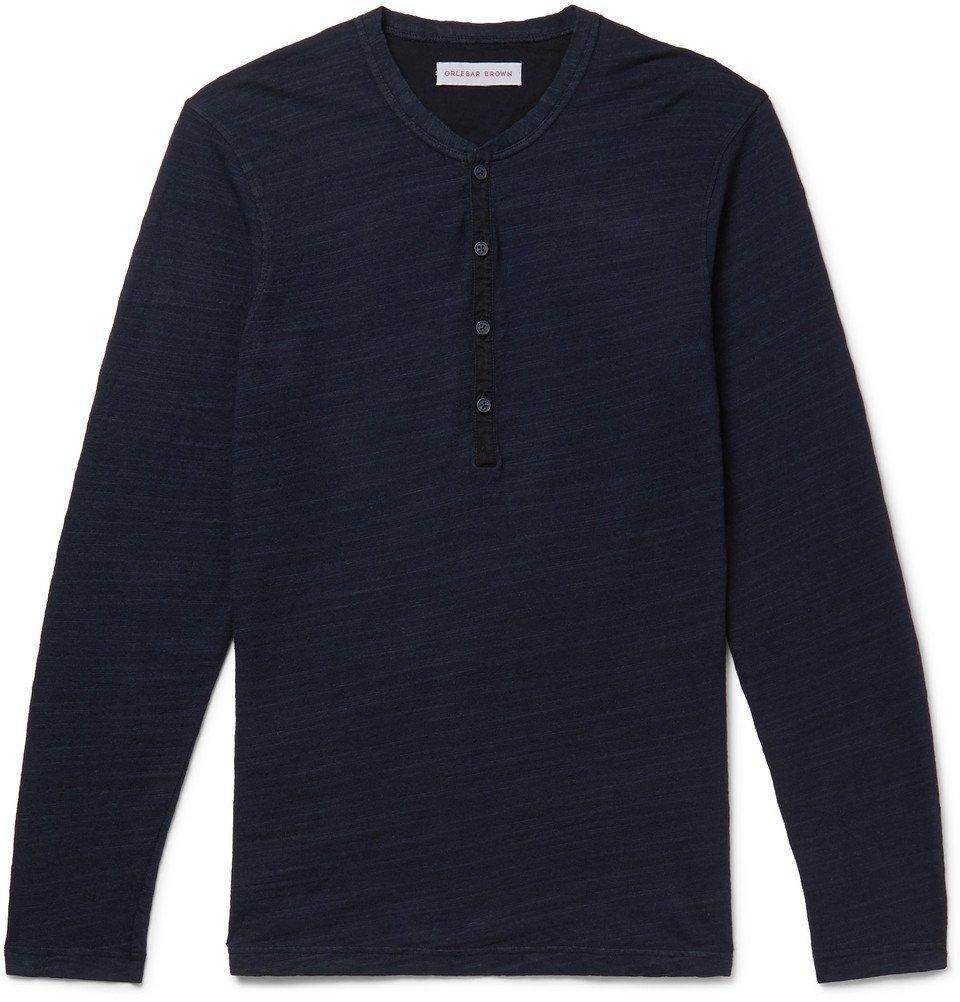 Photo: Orlebar Brown - Harrison Slim-Fit Garment-Dyed Slub Cotton-Jersey Henley T-Shirt - Navy