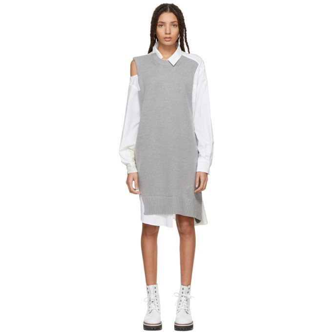 Sacai Grey and White Asymmetric Knit and Poplin Dress