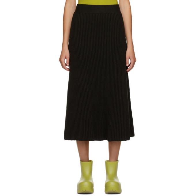 Photo: Bottega Veneta Brown Rib Distorted Mid-Length Skirt