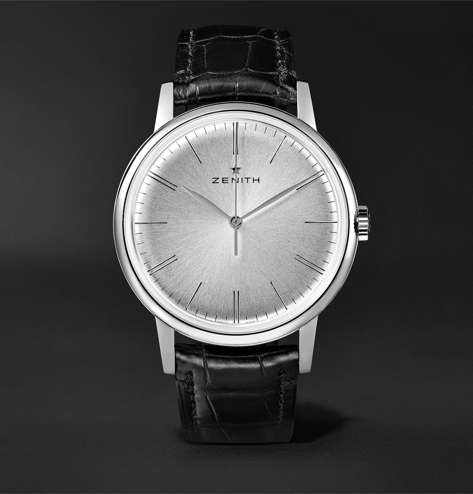 Photo: Zenith - Elite 6150 42mm Stainless Steel and Alligator Watch - Silver