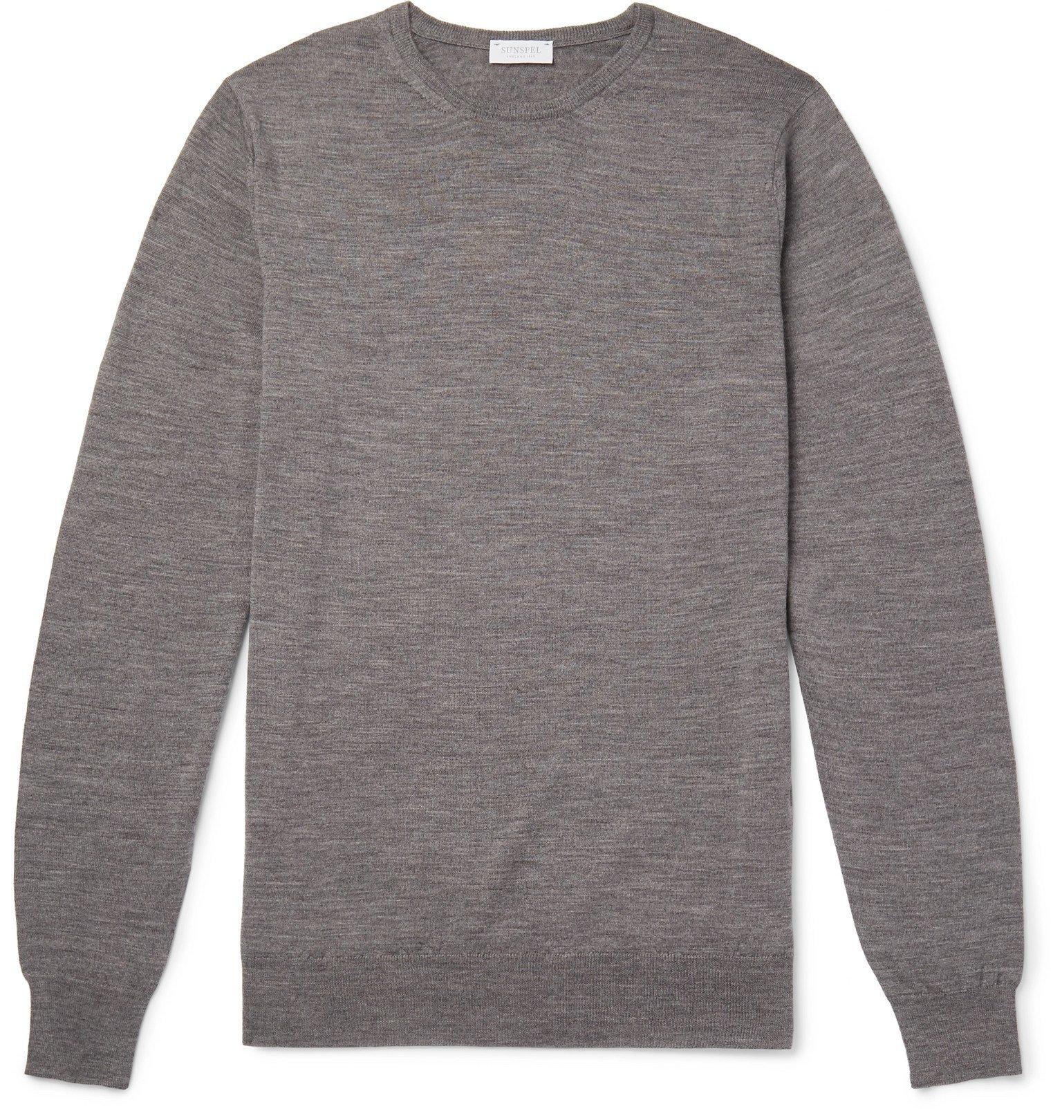Sunspel - Slim-Fit Merino Wool Sweater - Gray