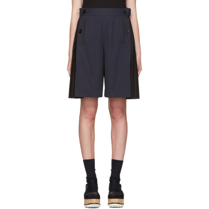 Photo: Sacai Navy Twill Pleated Short