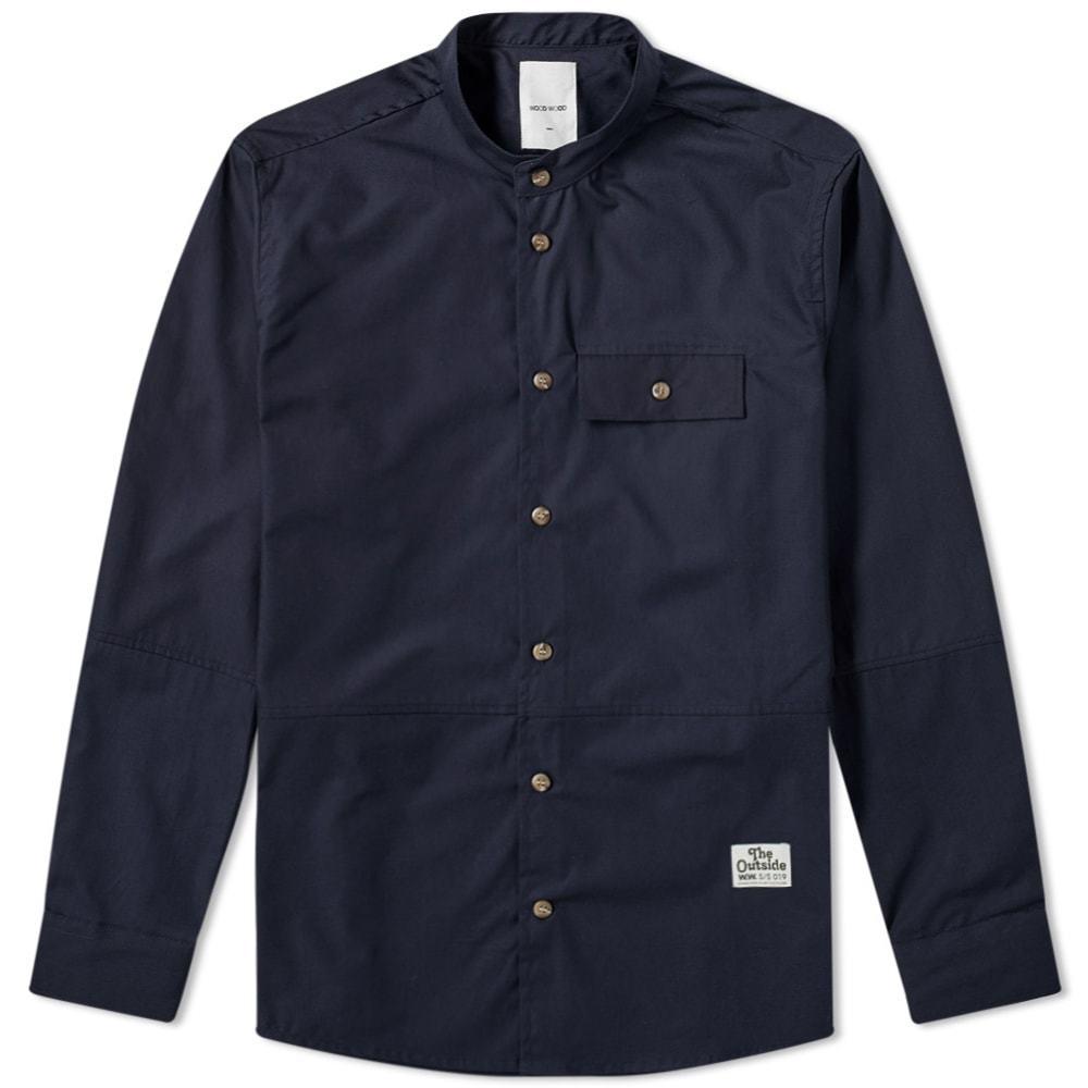 Wood Wood Alvaro Collarless Shirt Navy